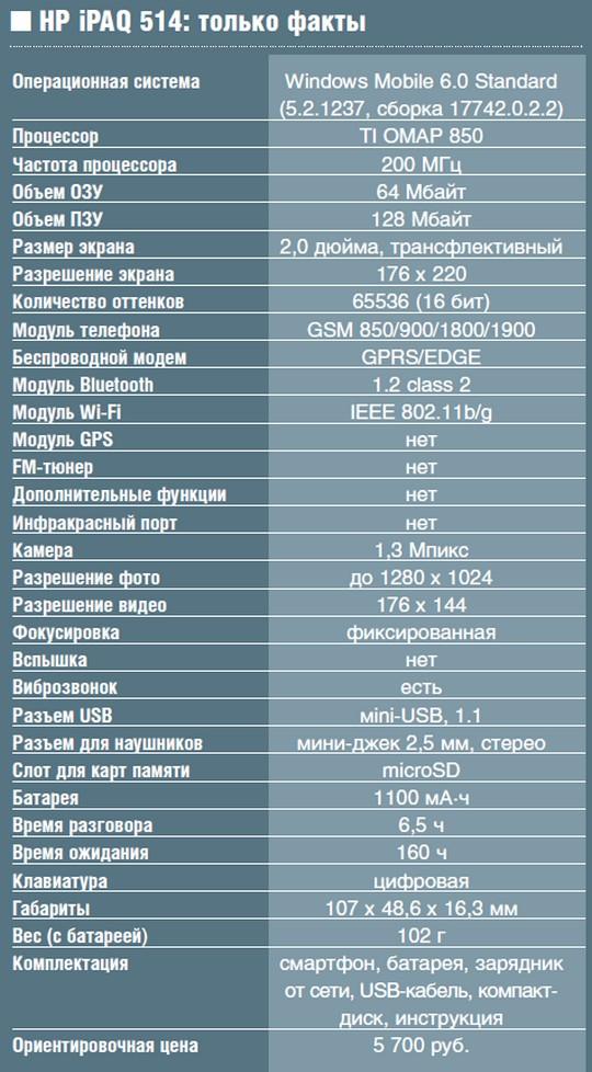 Смартфон HP iPAQ 514
