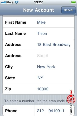 Регистрация в iTunes с iPhone