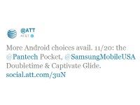 В AT&T 20 ноября состоится релиз Samsung DoubleTime, Pantech Pocket и Samsung Captivate Glide