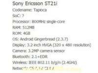 В Сети появились спецификации смартфона Sony Tapioca