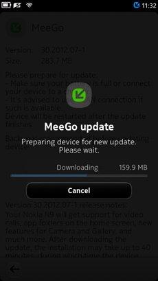 Nokia N9 MeeGo downloading