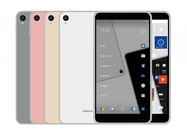 Утечка: рендер Nokia C1, смартфона с Windows 10 и Android