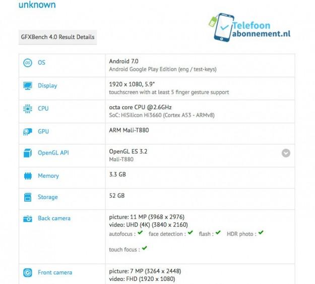 Huawei Mate 9 появился вбазе теста GFXBench