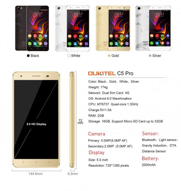 Китайская OUKITEL анонсировала смартфон C5 Pro за $74.99