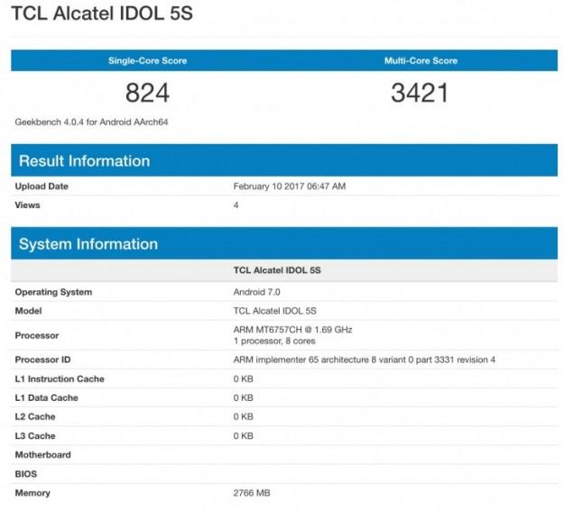 Alcatel Idol 5S засветился вбенчмарке GeekBench