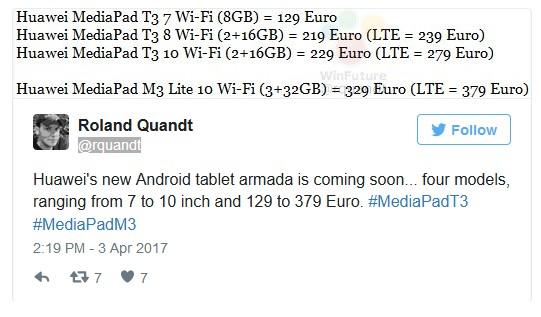 MediaPad T3: будущие спецификации ицена
