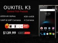 Флагман бизнес класса  OUKITEL K3 стартует на предпродаже за $139.99
