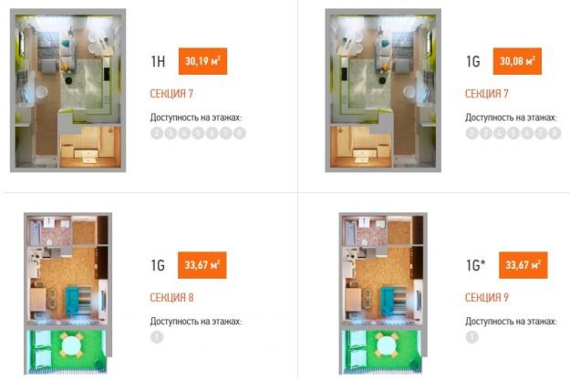 1-комнатная квартира в Orangepark